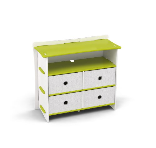 Legaré Kids Furniture Frog Series Collection, No Tools Assembly 4-Drawer Dresser, Lime Green and White by Legare