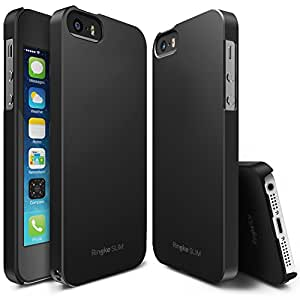 iPhone SE / 5S / 5 Case, Ringke [SLIM] Outfitted & Slender [Tailored Cutouts] Classy Superior Steadfast Compelling Lightweight Slim PC Hard Skin Cover for Apple iPhone 5 / 5S / SE – SF Black