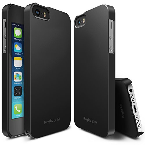 iPhone SE / 5S / 5 Case, Ringke [SLIM] Outfitted & Slender [Tailored Cutouts] Classy Superior Steadfast Compelling Lightweight Slim PC Hard Skin Cover for Apple iPhone 5 / 5S / SE - SF Black