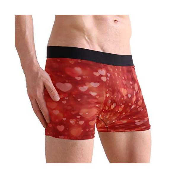 Mens Pink Love Hearts Valentines Day Box Briefs Underwear Shorts