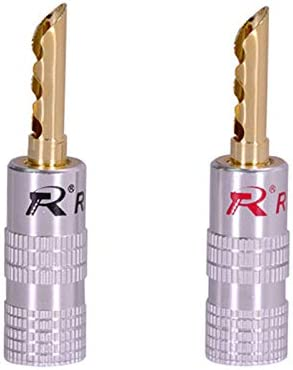 100pcs//lot 4MM Banana Plug 24K Gold Plated Copper Banana Connector Male Speaker Plug Wire Connector 50Pairs Red+Black