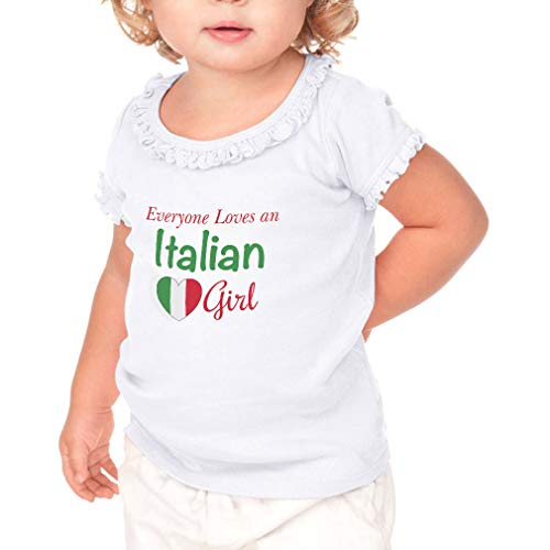 Everyone Loves an Italian Girl Short Sleeve Toddler Cotton Ruffle Top Tee Sunflower - White, 18 Months