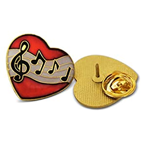 Musician Heart Treble Clef & Notes 3-Piece Lapel or Hat Pin & Tie Tack Set with Clutch Back by Novel Merk