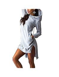 Hoodie Dress Women Long Sleeve Casual Tops Jumper Hooded Jacket Pockets Sweater Shirt