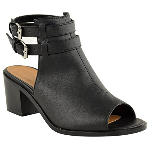 Milesline Fashion Womens Peep Toe Faux Leather Open Back Bootie Summer Buckle Chunky Heel Ankle Boot