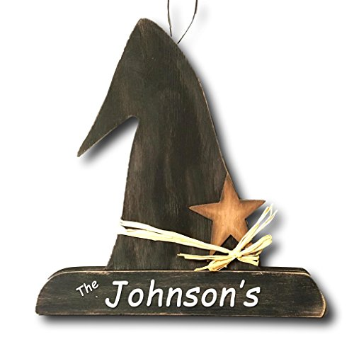 Wooden Halloween Decorations (Personalized Rustic Wooden Black Witch Hat with Star Wall Hang Halloween Home Door Decoration with)