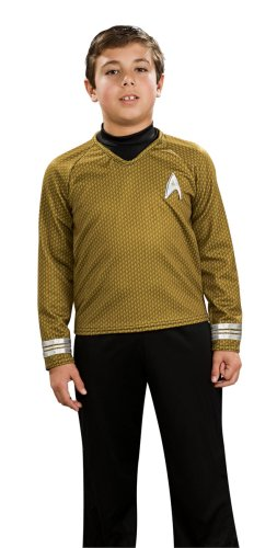 Star Trek Movie Child's Deluxe Gold Shirt Costume with Dickie, Pants with Attached Boot Tops and Emblem Pin, (Star Trek Costume Boots)