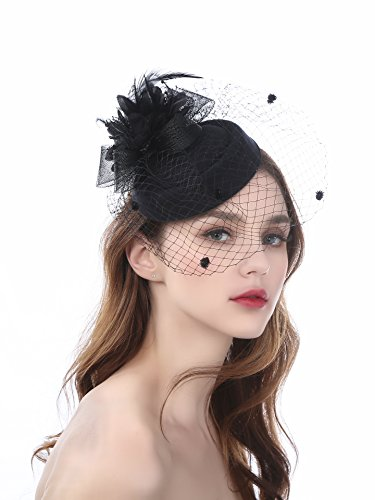 Zivyes Pillbox Hat Fascinator Headband Hats With Veil For Women Tea Party (Black Pill Box Hat)