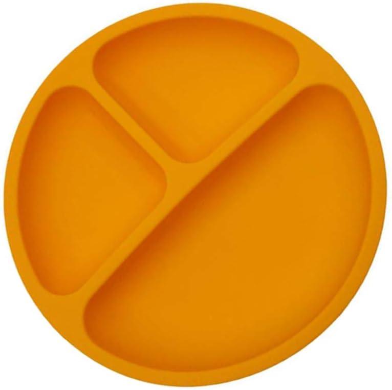 Hemoton Platos de Silicona para Beb/é Ventosa Divididas Placemat Grado Alimenticio Infantil Antideslizante FDA y Sin BPA Beb/é Ni/ños Plato Plato Infantil Antideslizante con Succion Naranja