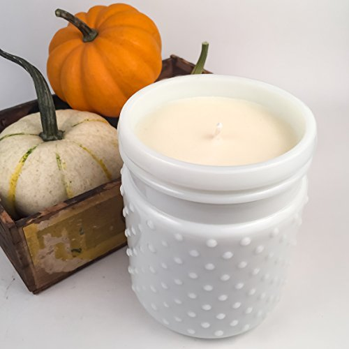 Pumpkin Souffle Soy Candle, Milk Glass Hobnail Jar Candle, 22 oz (Vintage Hobnail Glass Milk)