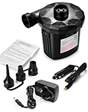 JOLVVN Electric Pump Rechargeable Air Pump, Portable Pump Quick-Fill Inflator Deflator Air Mattress Pump with 3 Nozzles for Inflatable Air Bed Lake Floats Rafts Pool Toys