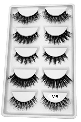 3D Real Mink False Eyelashes 100% Siberian Mink Luxurious Soft Cross Very Thick Very Long for Party Fake Eye Lashes 5 Pairs/Box (V6) -
