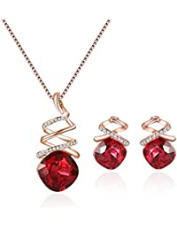 Fashion Crystal Pendant Necklace Earring Set Rose Gold Jewelry Set For Women Girls