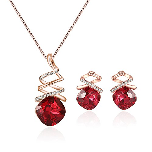 (Teniu Fashion Ruby Necklace Red Crystal Pendant Necklace Earring Set Rose Gold Jewelry Set Girls Women Accessories Jewelry Set)