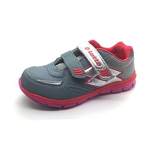Lotto - Zapatillas de Material Sintético para niño Grigio/Rosso
