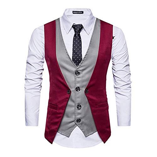 coloré Plus Décontracté Mode 2 Fuweiencore L couleur M Social Size 1 Groom Patch Taille Vest Taille Suit Red 2018 Slim pièces Faux Gilet Business 3 Deux q6nA61fw