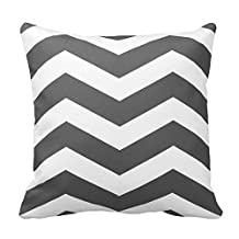 Generic Modern Chevron Stripes in Charcoal Grey and White Throw Pillow Covers Pattern Pillowcase Throw Cushion Cover Gold White 18 x 18 Home Sofa Bed Car Cushion Cover