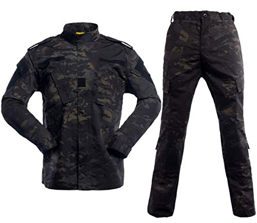 Acu Uniform Set - Men's Tactical Jacket and Pants Military Camo Hunting ACU Uniform 2PC Set