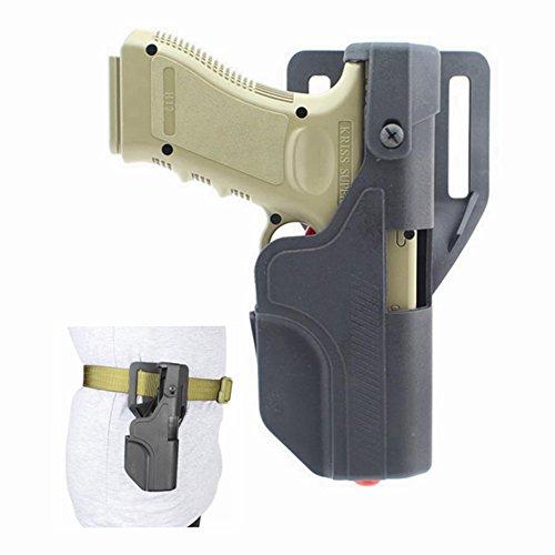 quanlei Tactical Auto Loading Holster Level 3 Lock OWB Pistol Holster for Glock 17 18 19 23 (Black)