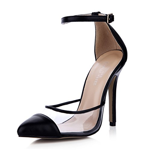 Women Shoes Stiletto Pointy Black Fashion Material Toe High 12CM Patent SM00115 Black DolphinGirl Heels dqfwSWad