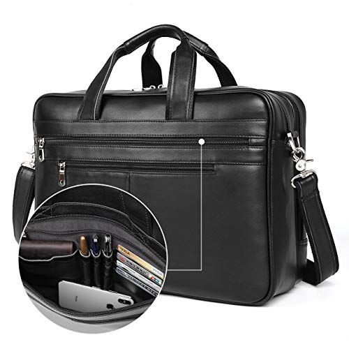 (Augus Business Travel Briefcase Genuine Leather Duffel Bags for Men Laptop Bag fits 15.6 inches Laptop (Black))