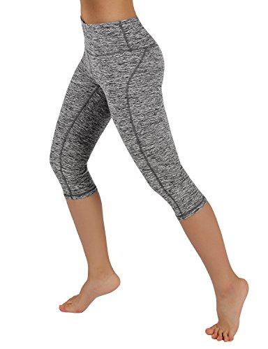 ODODOS Power Reflex Yoga Capri Pants Tummy Control Workout Running 4 way Stretch Yoga Capri Pants With Hidden Pocket,GrayHearher,Medium