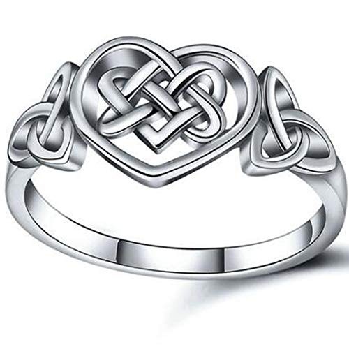 Kingray Jewelry Stainless Steel Heart Shaped Celtic Knotted Statement Promise Wedding Ring (Silver, 9)