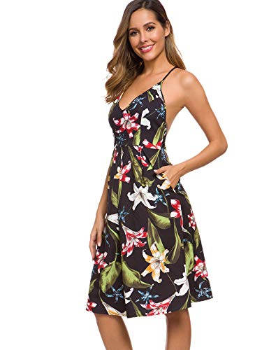 Eliacher Women's Deep V Neck Adjustable Spaghetti Straps Summer Dress Sleeveless Sexy Backless Party Dresses with Pocket (S, Lily) (Spring Dresses Sexy)