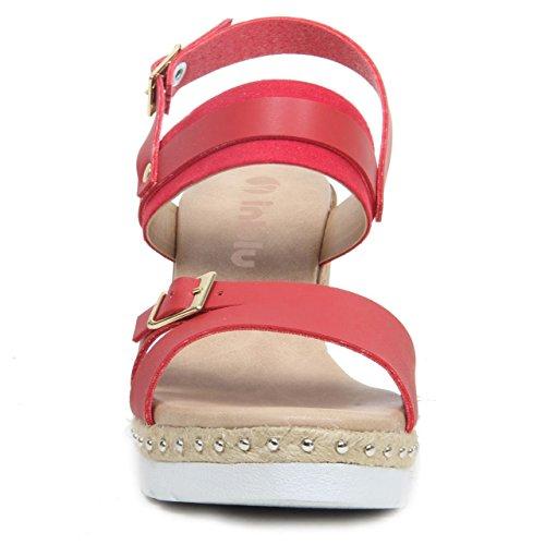 Damen Keilabsatz anschnallen Kunstleder Offene Zehen Sandalen Sommer Schuhe Rot