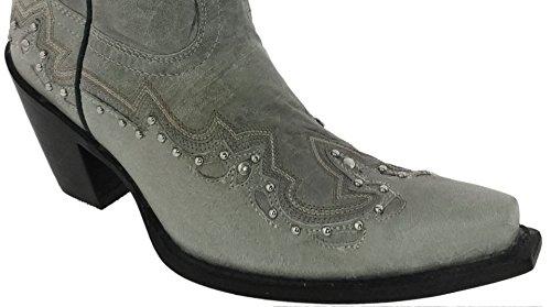Cowboy Professional Mujeres Tall Grey Tachonado Cuero Botas De Vaquero Snip Toe Gris