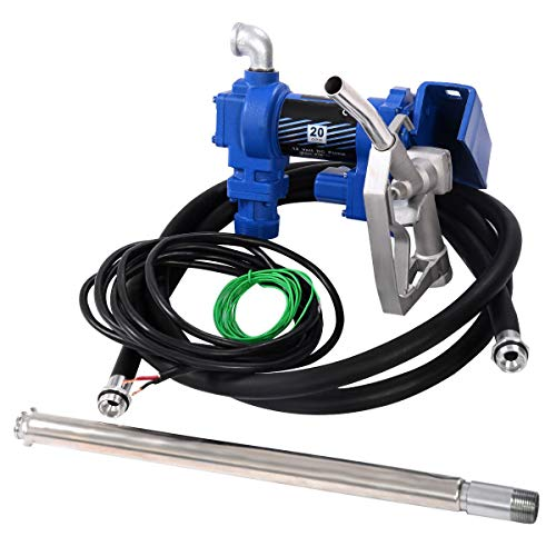 Goplus 12V Electric Gasoline Transfer Pump 20GPM Fuel Gas Diesel Kerosene Extractor Pump with Nozzle Kit and Hose