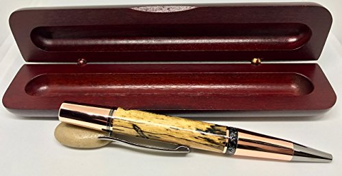 SoHo Rose Gold & Black Titanium Ballpoint Wood Pen - Spalted Tamarind - Handcrafted by Bendecidos Pens - Handmade Wedding, Birthday, Anniversary & Graduation Gifts by Bendecidos Pens