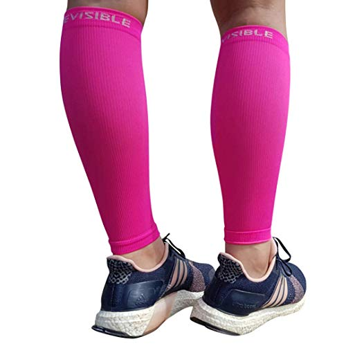 (BeVisible Sports Leg Compression Sleeve Footless Calf Compression Socks for Men & Women for Shin Splints, Running, Cycling, Travel, Circulation & Everyday Support - 1 Pair (Neon Pink, XL-XXL))