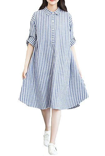 Cotton And Linen Striped Dress - 2