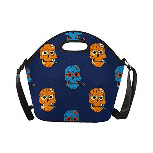 InterestPrint Lunch Tote Bag Smoking Robot Skull Waterproof Lunchbox Handbag