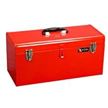 Excel International Steel Tool Box with 1-Metal Tray, Red