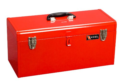 Excel Tool Chests (Excel TB140-Red Steel Tool Box with 1 Metal Tray, Red)