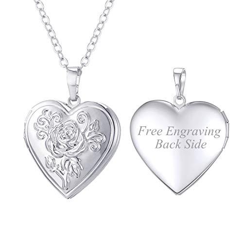 (U7 Platinum Plated Heart Shaped Photo Locket Pendant Women Fashion Jewelry Customized Necklace)
