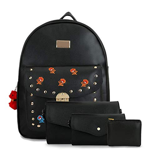 Mimisku backpack set including 1 backpack, 1 sling bag, 1 wallet and 1coin pouch with key chain