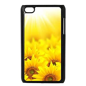 Ipod Touch 4 2D Custom Hard Back Durable Phone Case with sunflower Image