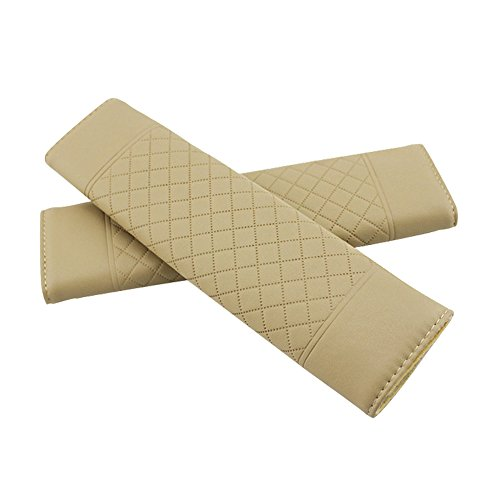 Encell PU Grid Seat Belt Pad Shoulder Strap,Beige