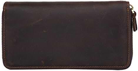 Tiding Men's Crazy Horse Leather Dual Zipper Wallet Purse Clutch Bag