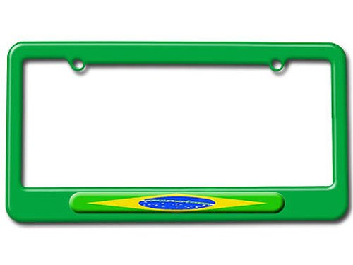 Graphics and More Brazilian Flag - Brazil License Plate Tag Frame - Color Green