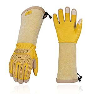 Vgo 1 Pair Premium Cow Leather Gardening Gloves and Pruning Gloves, Extra-Long Sleeves Gauntlet, Foam Padding Palm, TPR…