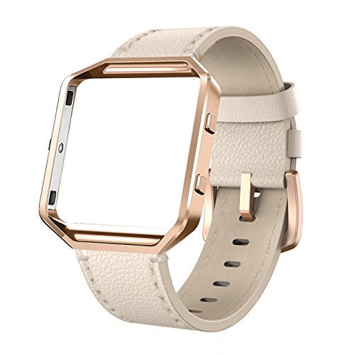 SWEES Leather Bands Compatible Fitbit Blaze Smart Watch, Genuine Leather Replacement Band Metal Frame Small & Large Women Men, Champagne Gold, Rose Gold, Black, Brown, White, Grey, Turquoise