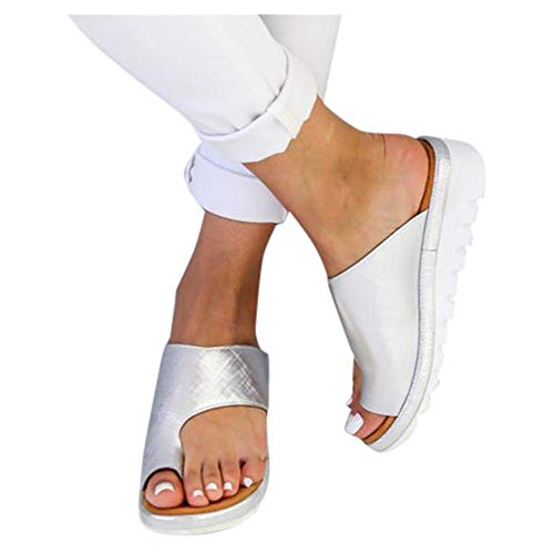 (Platform Sandals for Women- 2019 New Comfort Flip Flops Wedge Shoes Flats Beach Casual Slippers (Silver, EU:41/US:8.0))