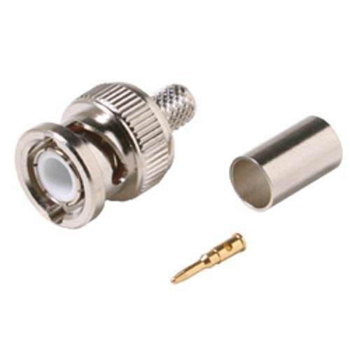 3 Piece BNC Plug Crimp Connector for RG6 - 10 Pack
