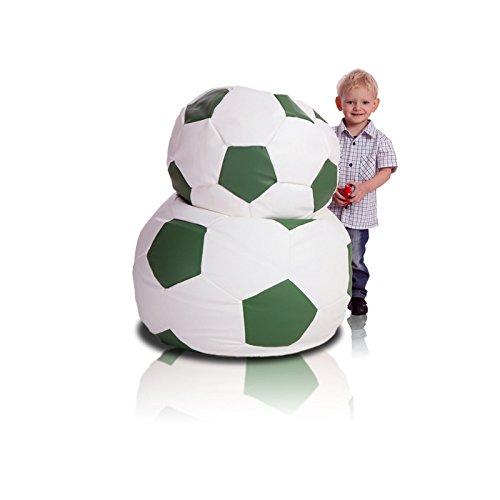 Turbo BeanBags Soccer Ball Style Bean Bag Chair, Medium, White/Green by Turbo BeanBags