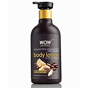 WOW Shea Butter and Cocoa Butter Moisturizing Body Lotion, Deep Hydration, 300ml