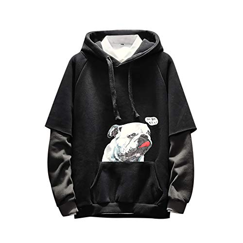 Mens Hip hop style Sweatshirt,NRUTUP Men's Fashion Puppy Printed Long-Seeved Fake Two-Piece -